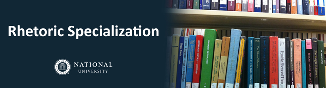 banner image: rhetoric books on library shelf